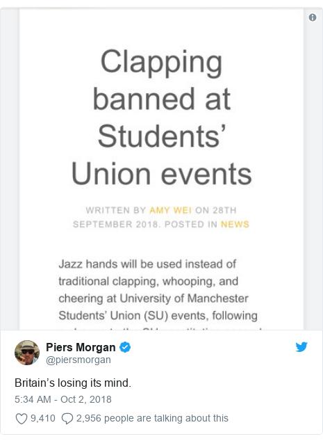 Twitter post by @piersmorgan: Britain's losing its mind.