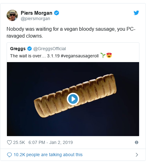 Twitter post by @piersmorgan: Nobody was waiting for a vegan bloody sausage, you PC-ravaged clowns.