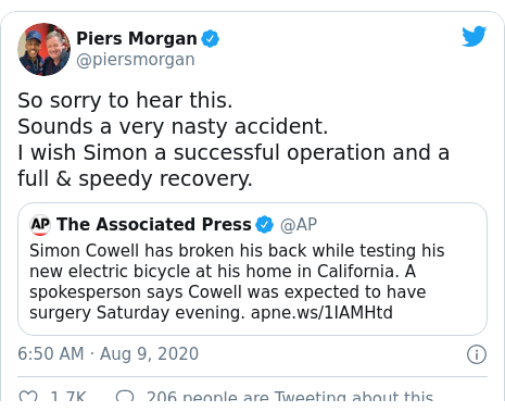 Twitter post by @piersmorgan: So sorry to hear this.  Sounds a very nasty accident. I wish Simon a successful operation and a full & speedy recovery.