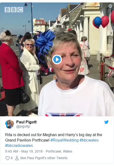 Twitter post by @pigottp: Rita is decked out for Meghan and Harry's big day at the Grand Pavilion Porthcawl #RoyalWedding #bbcwales #bbcradiowales