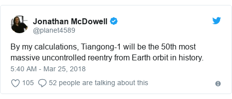 Ujumbe wa Twitter wa @planet4589: By my calculations, Tiangong-1 will be the 50th most massive uncontrolled reentry from Earth orbit in history.