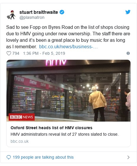 Twitter post by @plasmatron: Sad to see Fopp on Byres Road on the list of shops closing due to HMV going under new ownership. The staff there are lovely and it's been a great place to buy music for as long as I remember.