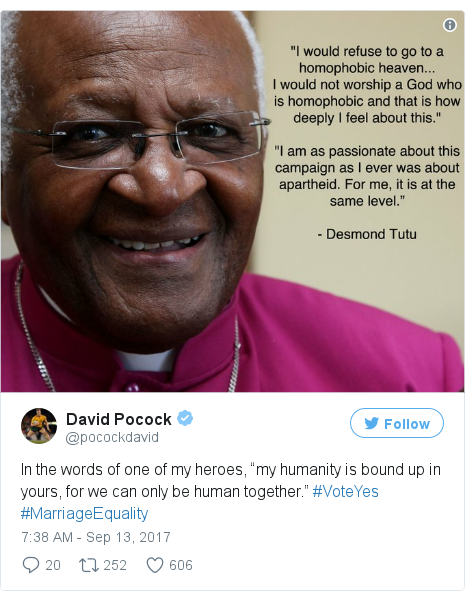 "Twitter post by @pocockdavid: In the words of one of my heroes, ""my humanity is bound up in yours, for we can only be human together."" #VoteYes #MarriageEquality pic.twitter.com/VPwuglbhl2"