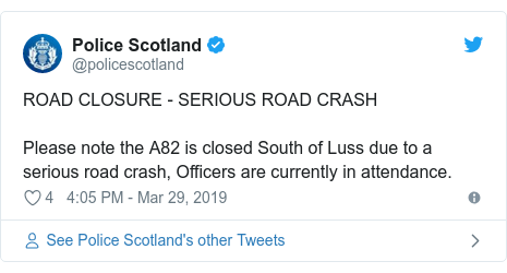 Twitter post by @policescotland: ROAD CLOSURE - SERIOUS ROAD CRASH Please note the A82 is closed South of Luss due to a serious road crash, Officers are currently in attendance.