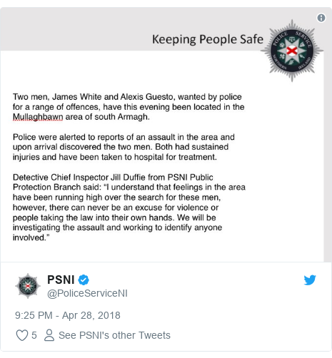 Twitter post by @PoliceServiceNI: