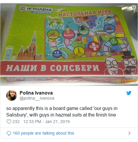 Twitter post by @polina__ivanova: so apparently this is a board game called 'our guys in Salisbury', with guys in hazmat suits at the finish line