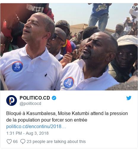 Ujumbe wa Twitter wa @politicocd: Bloqué à Kasumbalesa, Moïse Katumbi attend la pression de la population pour forcer sonentrée