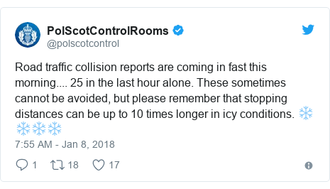 Twitter post by @polscotcontrol: Road traffic collision reports are coming in fast this morning.... 25 in the last hour alone. These sometimes cannot be avoided,  but please remember that stopping distances can be up to 10 times longer in icy conditions. ❄️❄️❄️❄️