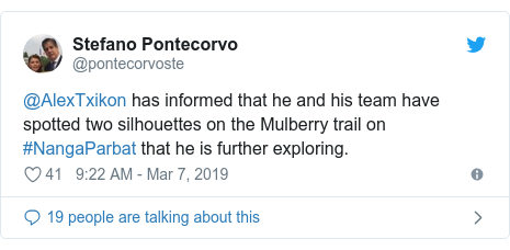 Twitter post by @pontecorvoste: @AlexTxikon has informed that he and his team have spotted two silhouettes on the Mulberry trail on #NangaParbat that he is further exploring.