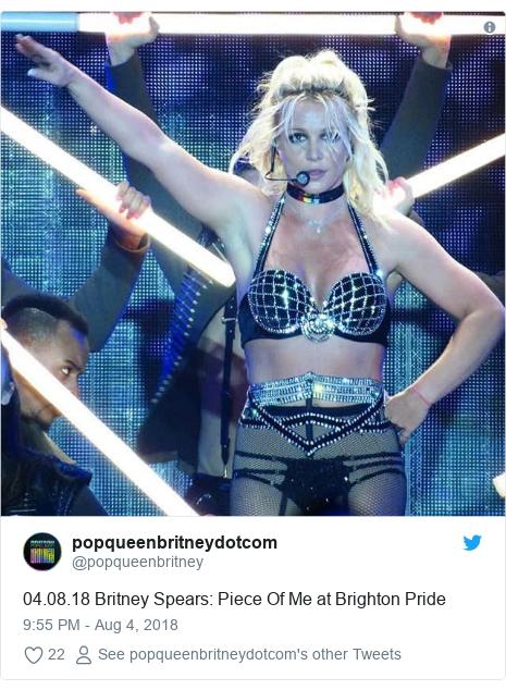 Twitter post by @popqueenbritney: 04.08.18 Britney Spears  Piece Of Me at Brighton Pride