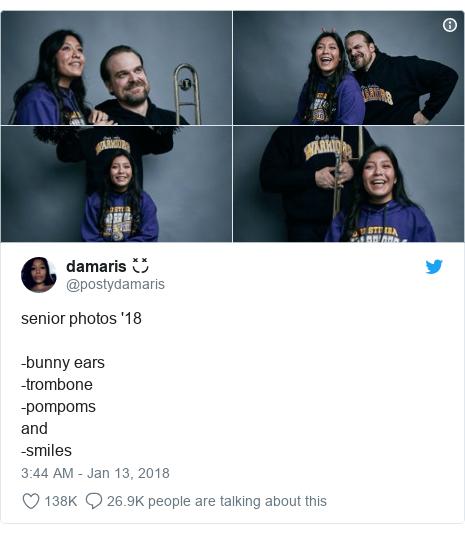 Twitter post by @postydamaris: senior photos '18-bunny ears-trombone-pompoms and -smiles