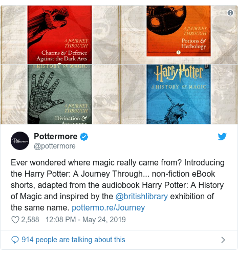 Publicación de Twitter por @pottermore: Ever wondered where magic really came from? Introducing the Harry Potter  A Journey Through... non-fiction eBook shorts, adapted from the audiobook Harry Potter  A History of Magic and inspired by the @britishlibrary exhibition of the same name.
