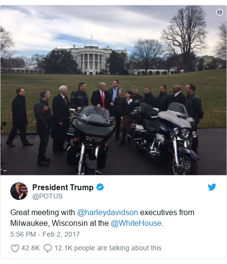 Twitter post by @POTUS: Great meeting with @harleydavidson executives from Milwaukee, Wisconsin at the @WhiteHouse.