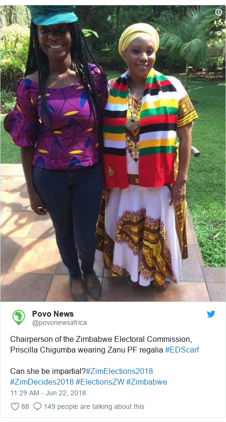 Twitter post by @povonewsafrica: Chairperson of the Zimbabwe Electoral Commission, Priscilla Chigumba wearing Zanu PF regalia #EDScarfCan she be impartial?#ZimElections2018 #ZimDecides2018 #ElectionsZW #Zimbabwe