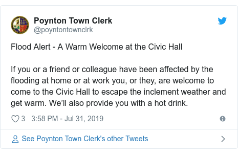Twitter post by @poyntontownclrk: Flood Alert - A Warm Welcome at the Civic HallIf you or a friend or colleague have been affected by the flooding at home or at work you, or they, are welcome to come to the Civic Hall to escape the inclement weather and get warm. We'll also provide you with a hot drink.