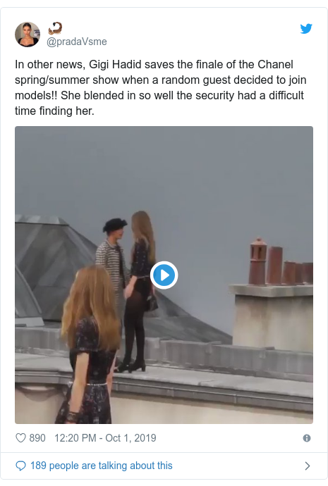 Twitter post by @pradaVsme: In other news, Gigi Hadid saves the finale of the Chanel spring/summer show when a random guest decided to join models!! She blended in so well the security had a difficult time finding her.