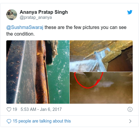 Twitter post by @pratap_ananya: @SushmaSwaraj these are the few pictures you can see the condition.