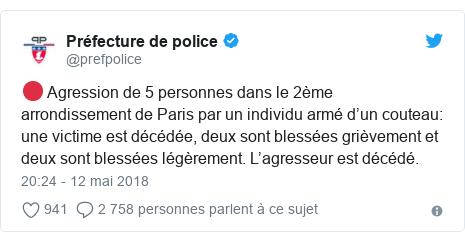 Twitter publication par @prefpolice: 🔴 Agression de 5 personnes dans le 2ème arrondissement de Paris par un individu armé d'un couteau  une victime est décédée, deux sont blessées grièvement et deux sont blessées légèrement. L'agresseur est décédé.