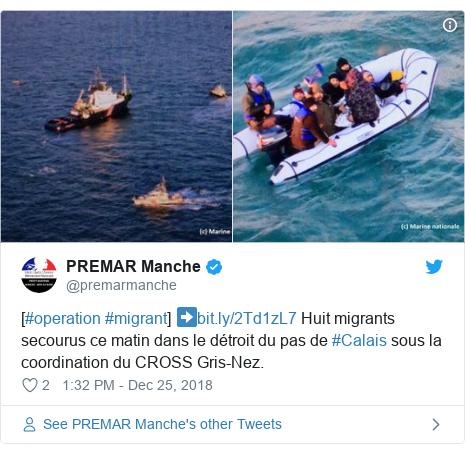Twitter post by @premarmanche: [#operation #migrant] ➡️ Huit migrants secourus ce matin dans le détroit du pas de #Calais sous la coordination du CROSS Gris-Nez.