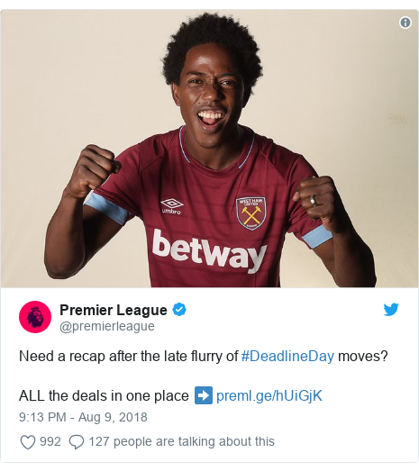 Twitter post by @premierleague: Need a recap after the late flurry of #DeadlineDay moves?ALL the deals in one place ➡️