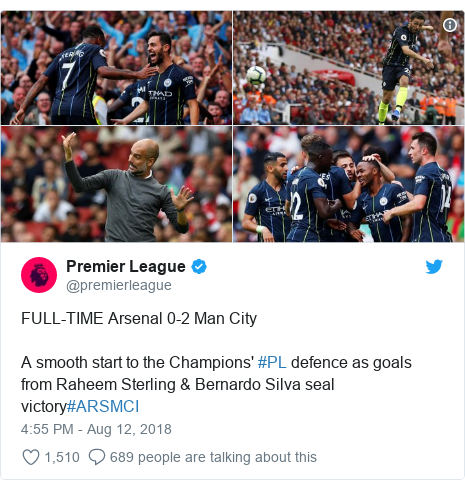 Twitter post by @premierleague: FULL-TIME Arsenal 0-2 Man CityA smooth start to the Champions' #PL defence as goals from Raheem Sterling & Bernardo Silva seal victory#ARSMCI