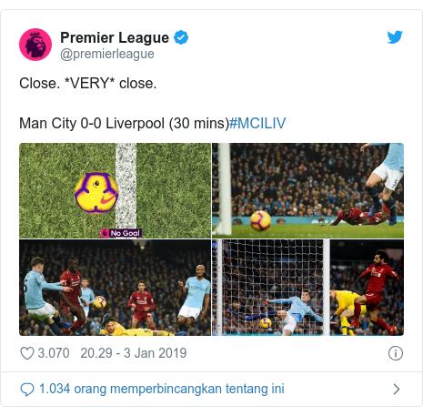 Twitter pesan oleh @premierleague: Close. *VERY* close. Man City 0-0 Liverpool (30 mins)#MCILIV