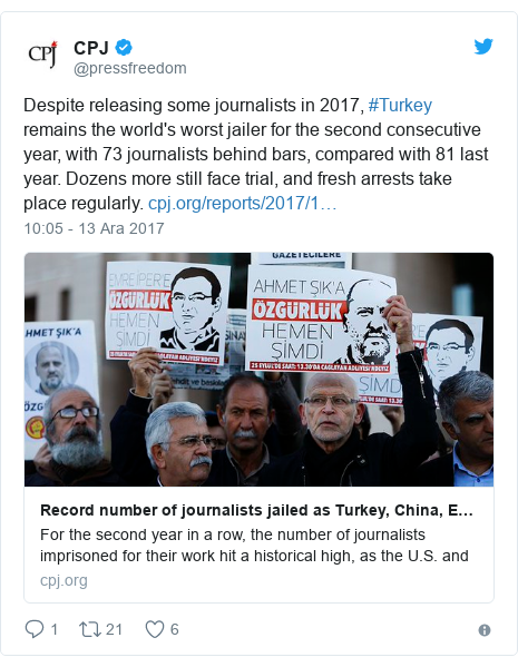 @pressfreedom tarafından yapılan Twitter paylaşımı: Despite releasing some journalists in 2017, #Turkey remains the world's worst jailer for the second consecutive year, with 73 journalists behind bars, compared with 81 last year. Dozens more still face trial, and fresh arrests take place regularly.
