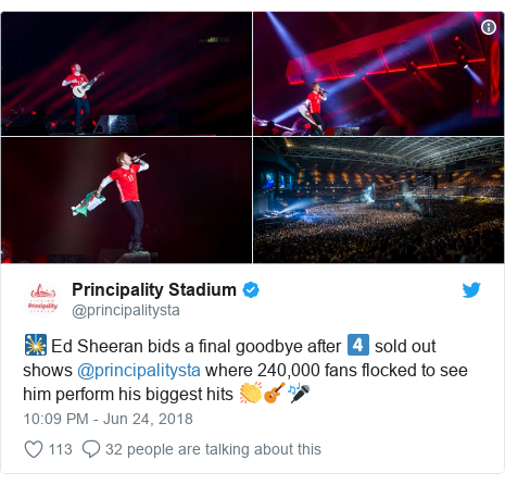 Twitter post by @principalitysta: 🎇 Ed Sheeran bids a final goodbye after 4⃣ sold out shows @principalitysta where 240,000 fans flocked to see him perform his biggest hits 👏🎸🎤