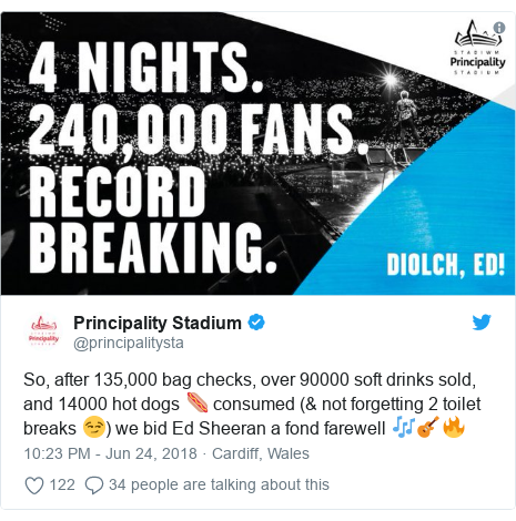 Twitter post by @principalitysta: So, after 135,000 bag checks, over 90000 soft drinks sold, and 14000 hot dogs 🌭 consumed (& not forgetting 2 toilet breaks 😏) we bid Ed Sheeran a fond farewell 🎶🎸🔥
