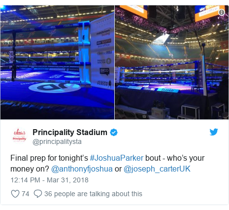 Twitter post by @principalitysta: Final prep for tonight's #JoshuaParker bout - who's your money on? @anthonyfjoshua or @joseph_carterUK