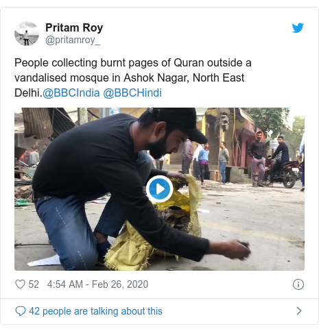Twitter post by @pritamroy_: People collecting burnt pages of Quran outside a vandalised mosque in Ashok Nagar, North East Delhi.@BBCIndia @BBCHindi