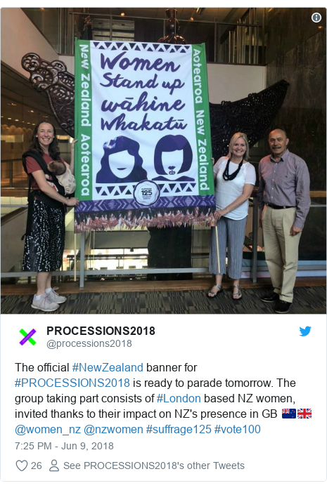 Twitter post by @processions2018: The official #NewZealand banner for #PROCESSIONS2018 is ready to parade tomorrow. The group taking part consists of #London based NZ women, invited thanks to their impact on NZ's presence in GB 🇳🇿🇬🇧 @women_nz @nzwomen #suffrage125 #vote100