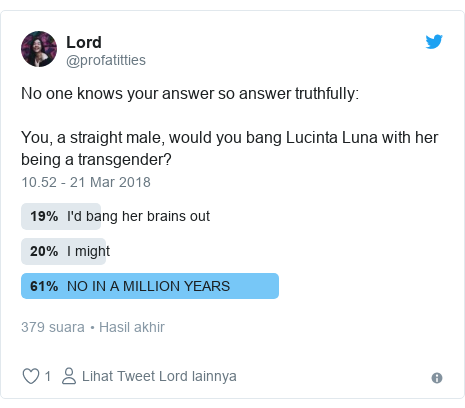 Twitter pesan oleh @profatitties: No one knows your answer so answer truthfully  You, a straight male, would you bang Lucinta Luna with her being a transgender?