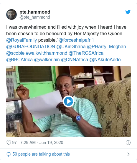 """Twitter post by @pte_hammond: I was overwhelmed and filled with joy when I heard I have been chosen to be honoured by Her Majesty the Queen @RoyalFamily possible.""""@forceshelpafri1 @GUBAFOUNDATION @UKinGhana @PHarry_Meghan @scobie #walkwithhammond @TheRCSAfrica @BBCAfrica @walkeriain @CNNAfrica @NAkufoAddo"""