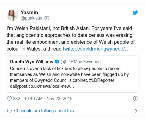 Twitter post by @punkistani93: I'm Welsh Pakistani, not British Asian. For years I've said that anglocentric approaches to data census was erasing the real life embodiment and existence of Welsh people of colour in Wales  a thread