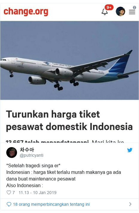 Twitter pesan oleh @putricyanti: *Setelah tragedi singa er*Indonesian   harga tiket terlalu murah makanya ga ada dana buat maintenance pesawatAlso Indonesian