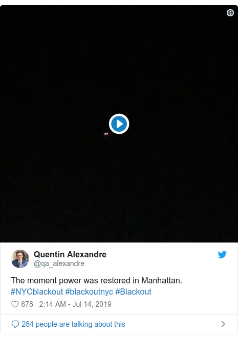 Twitter post by @qa_alexandre: The moment power was restored in Manhattan. #NYCblackout #blackoutnyc #Blackout
