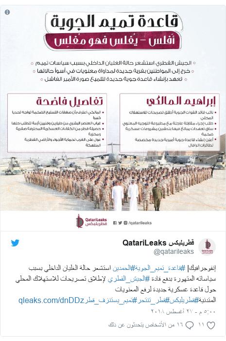 تويتر رسالة بعث بها @qatarileaks: إنفوجرافيك| #قاعدة_تميم_الجوية#الحمدين استشعر حالة الغليان الداخلي بسبب سياساته المتهورة بدفع قادة #الجيش_القطري لإطلاق تصريحات للاستهلاك المحلي حول قاعدة عسكرية جديدة لرفع المعنويات المتدنية#قطريليكس#قطر_تنتحر#تميم_يستنزف_قطر