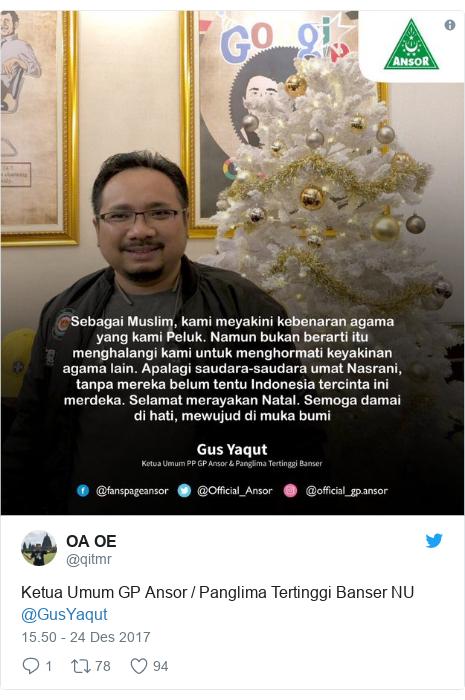 Twitter pesan oleh @qitmr: Ketua Umum GP Ansor / Panglima Tertinggi Banser NU @GusYaqut