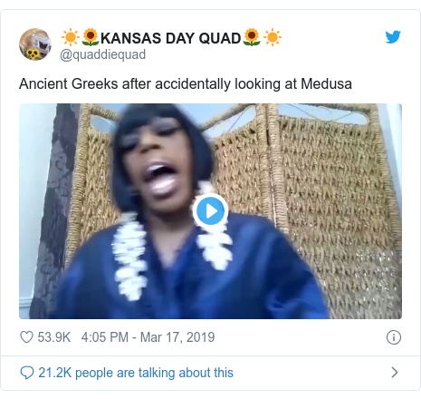 Twitter post by @quaddiequad: Ancient Greeks after accidentally looking at Medusa