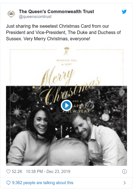 Twitter post by @queenscomtrust: Just sharing the sweetest Christmas Card from our President and Vice-President, The Duke and Duchess of Sussex. Very Merry Christmas, everyone!