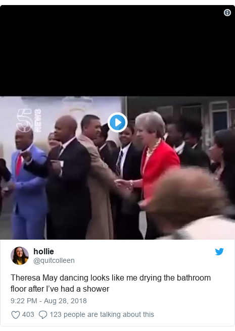 Twitter post by @quitcolleen: Theresa May dancing looks like me drying the bathroom floor after I've had a shower