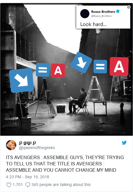 Twitter post by @qweenofthegeeks: ITS AVENGERS   ASSEMBLE GUYS, THEY'RE TRYING TO TELL US THAT THE TITLE IS AVENGERS   ASSEMBLE AND YOU CANNOT CHANGE MY MIND