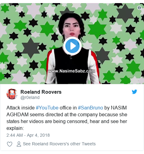 Twitter post by @r0eland: Attack inside #YouTube office in #SanBruno by NASIM AGHDAM seems directed at the company because she states her videos are being censored, hear and see her explain