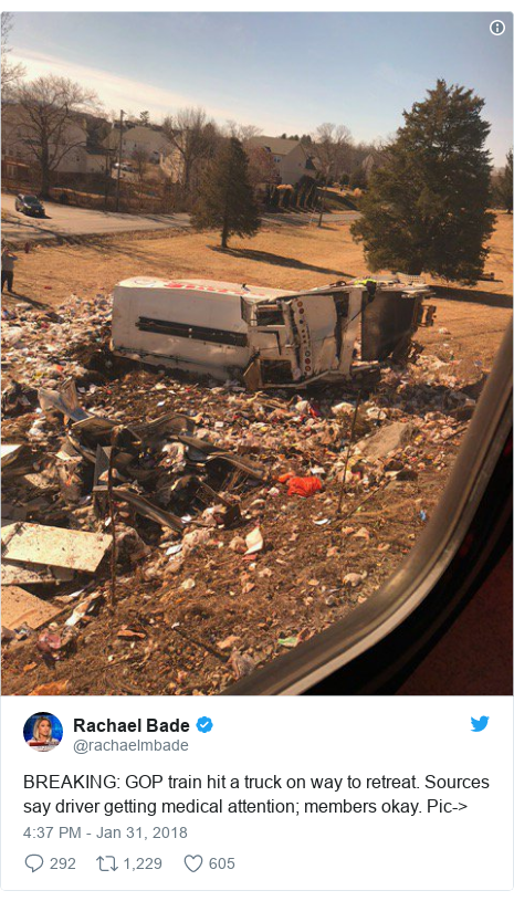 Twitter post by @rachaelmbade: BREAKING  GOP train hit a truck on way to retreat. Sources say driver getting medical attention; members okay. Pic->
