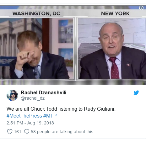 Twitter post by @rachel_dz: We are all Chuck Todd listening to Rudy Giuliani. #MeetThePress #MTP