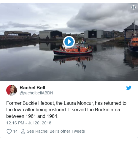 Twitter post by @rachelbellABDN: Former Buckie lifeboat, the Laura Moncur, has returned to the town after being restored. It served the Buckie area between 1961 and 1984.