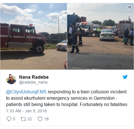 Twitter post by @radebe_nana: @CityofJoburgEMS  responding to a train collusion incident to assist ekurhuleni emergency services in Germiston - patients still being taken to hospital. Fortunately no fatalities