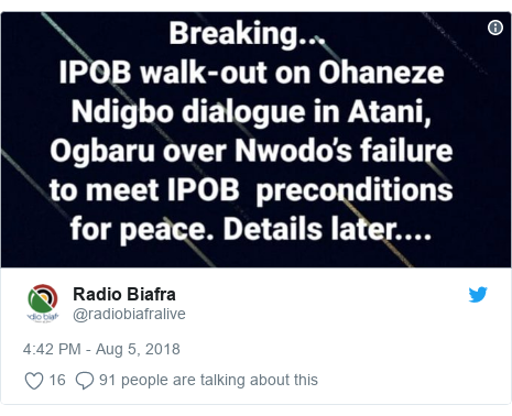Twitter post by @radiobiafralive:
