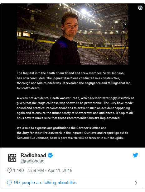 Twitter post by @radiohead: